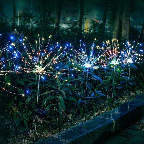 Garden Path Lights Solar Power Firework Lamp Starburst Stake Outdoor