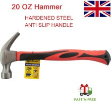 20 OZ Claw Hammer Solid Straight Forged Steel Fibre Glass HANDLE