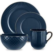 Tower T867002MNB Empire 16 Piece Dinnerware Set, Midnight Blue & Brass, Stoneware