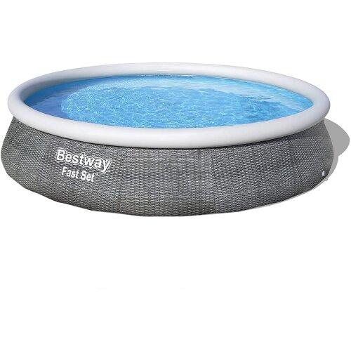 "Bestway 13ft x 33"" Deep Rattan Effect Fast Set Inflatable Paddling Pool"