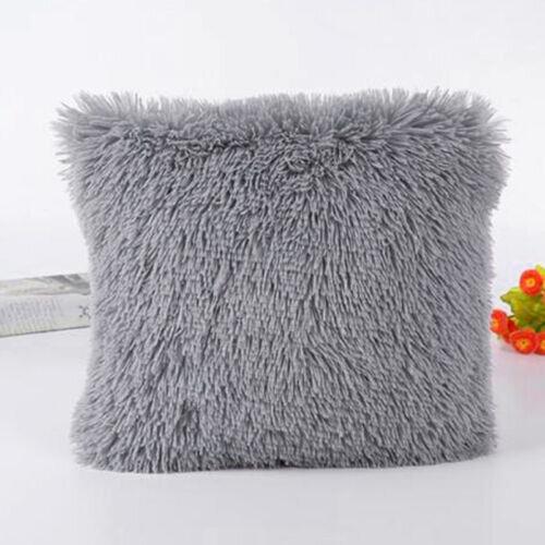 (Grey) Plush Pillow Fluffy Sofa Car Waist Luxury Throw Cushion Case Cover Home Decor