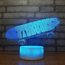 Skateboard 3D Small Night Desk Lamp Light Acrylic Gifts Originality Led Bedside Colorful White Base Lovely Table Lamps Bedroom Lights