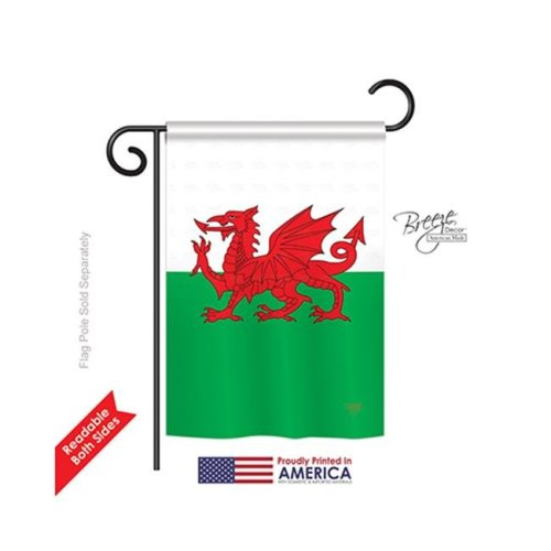 Breeze Decor 58084 Wales 2-Sided Impression Garden Flag - 13 x 18.5 in.