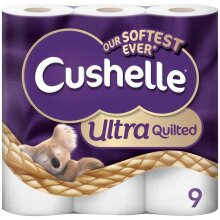 Cushelle Ultra Quilted Toilet Rolls, 9 Rolls