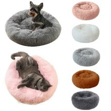 Washable Calming Comfy Donut Style Plush Cat Dog Pet Bed
