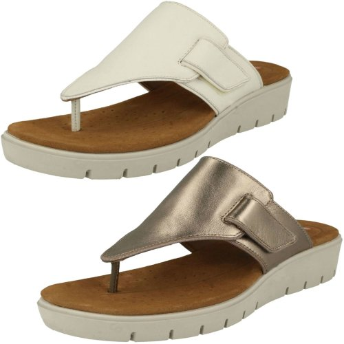 Ladies Clarks Unstructured Toe Post Sandals Un Karely Sea - D Fit