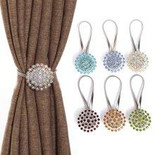 2Pcs Metal Crystal Curtain Punch-Free Magnet Buckle Holdback Wall Tie Backs Hooks Hanger Holder YY