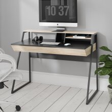 Alphason Salcombe Home Office Study Computer Desk With 2 Drawers