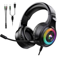Gaming Headset Xbox One Headset with Stereo Surround Sound,PS4 Gaming Headset with Mic & LED Light Noise Cancelling Over Ear Headphones Compatible