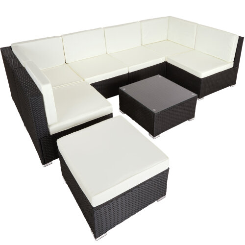 tectake Rattan garden furniture lounge Venice - garden sofa, garden corner sofa, rattan sofa - black