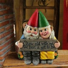 Gnome Couple Garden Statue Grow Old Together Decor
