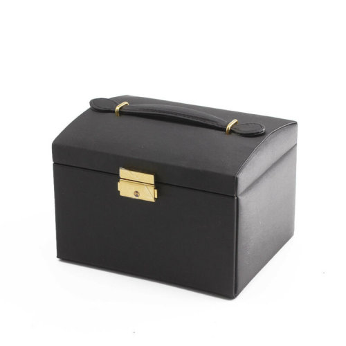 Leather Effect Jewellery Storage Box | Jewellery Case With Handle