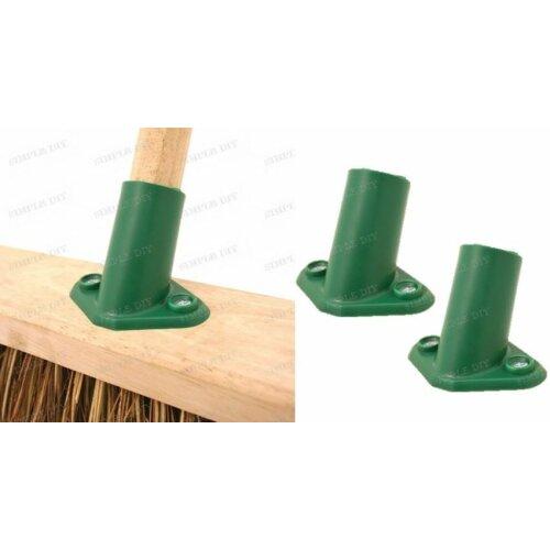 "2 Plastic Broom Bracket Sweeping Brush Support Stay 15/16"" Shaft Handle 2 Hole"