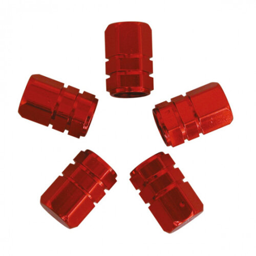 valve caps Piston 13.9 mm steel red 5 pieces
