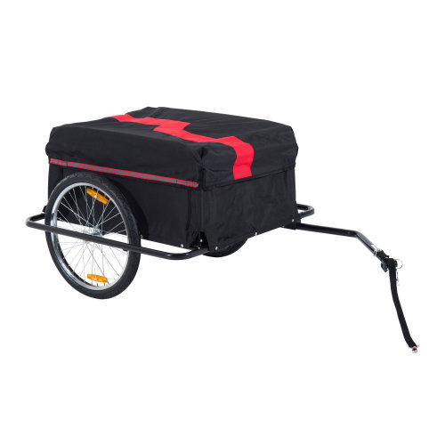 HOMCOM Bike Trailer Cargo with Removable Cover, Enclosed Luggage Cart Carrier