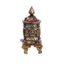 "Tibetan 5"" Table Spinning Wheel 8 Auspicious Symbols Embossed Table Prayer Wheel (KTS-MANE-1076AUS)"