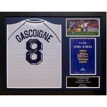 Framed Paul Gascoigne signed 1991 Spurs shirt with COA & proof