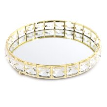 Stylish Round Gold Mirrored Display Dish | Diamante Decorative Metal Table Centerpiece | Perfume Jewellery Organiser Vanity Tray 21cm