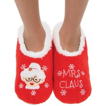 Snoozies! Xmas Family Mrs Claus Ladies Large Size 6-7 Super Soft Non Slip