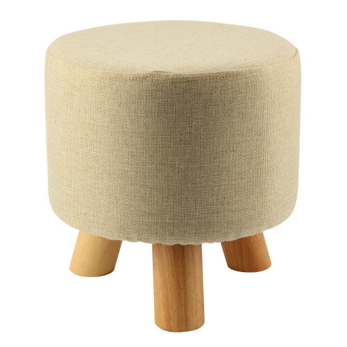 (No pattern, Round & 3 legs) Upholstered Footstool comfortable Round Pouffe Stool + Wooden Leg