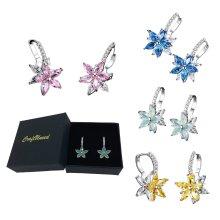 Craftuneed 18k platinum plated flower zircon stones drop earrings