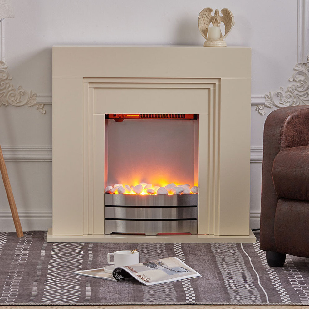Led Electric Freestanding Fireplace Heater Fire Place With Beige Mdf Mantel On Onbuy
