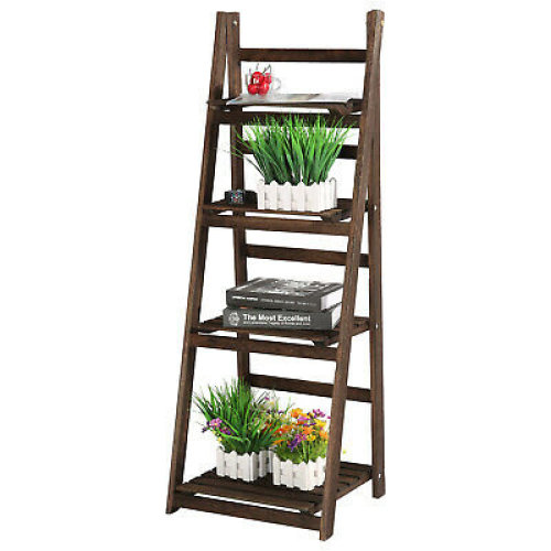 4-Tier Brown Ladder Style Plant Pot Display Stand | Plant Shelf Bookcase