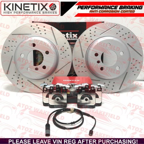 FOR BMW 330d 335d M SPORT REAR DIMPLED GROOVED BRAKE DISCS PADS WIRE 345mm
