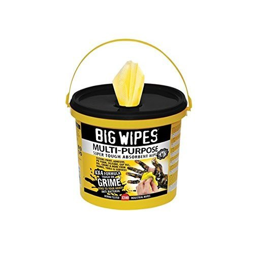 Big Wipes BGW2417 2417 4x4 Multi-Purpose Cleaning Wipes Bucket of 300, Yellow