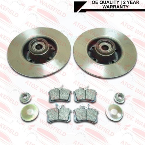 FOR CITROEN C4 DS4 REAR BRAKE DISCS PADS WITH WHEEL BEARINGS ABS RINGS FITTED