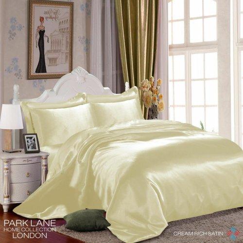 (DOUBLE, CREAM) 6PCS Satin Silk Duvet Cover Bedding Set