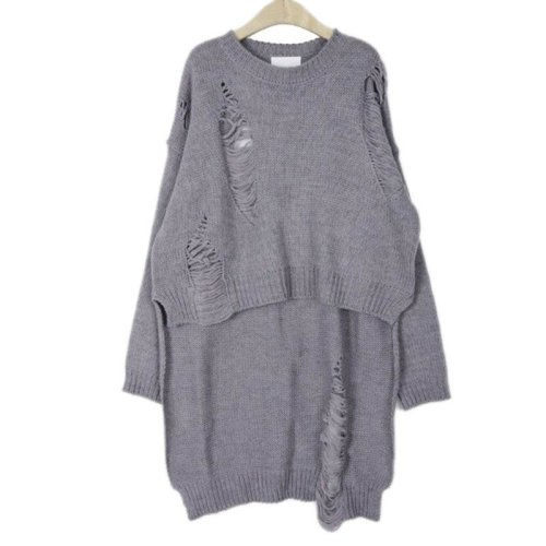 Autumn Winter Sweater Designer Knitting Pullover Gray Long Sleeve Hollow Dipped Hem Long Sweaters New Poncho Womens Clothes