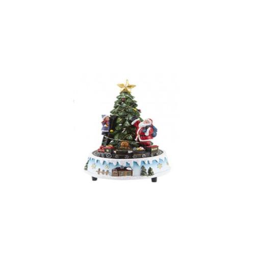 (Christmas Tree ) Revolving Musical Resin Xmas Scene With Train Christmas Decoration Village