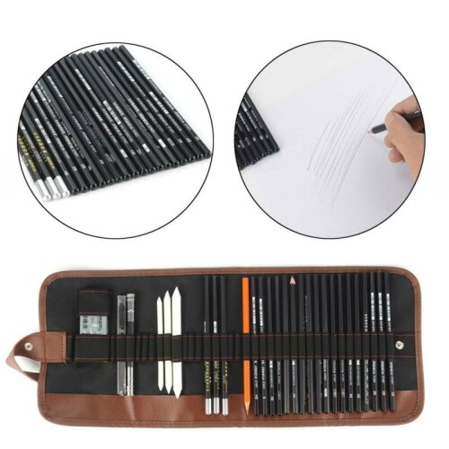 Sketching Drawing Art Pencil Kit Set Graphite Charcoal Stick