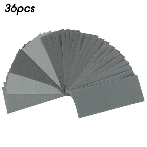 "(36 Pcs) 9x3.7"" Assorted Sanding Wet Dry Waterproof Sandpaper Mixed Sander Paper Sanding 36/42pcs"