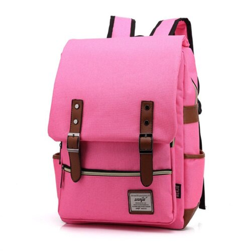 (Rose Red) Canvas Leather Travel Backpack Laptop Rucksack