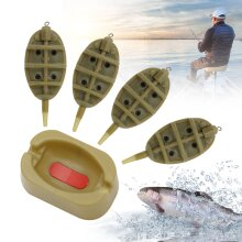 4XINLINE METHOD FEEDERS +1X MOULD SET FOR FISHING TACKLE 15g20g25g30g