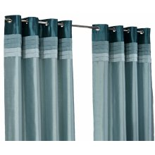 Hamilton McBride Seattle Teal Ring Top / Eyelet Fully Lined Readymade Curtain Pair 90x90in(228x228cm) Approx