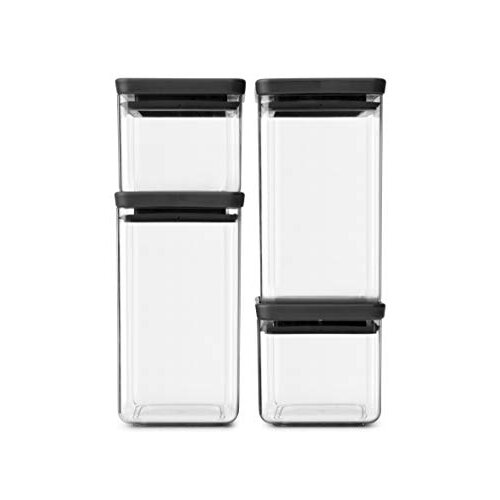 Brabantia Tasty+ Square Canister / Storage Jar, Set of 4, Dark Grey