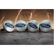 Set of 4 FORD Silver alloy wheel caps 54mm