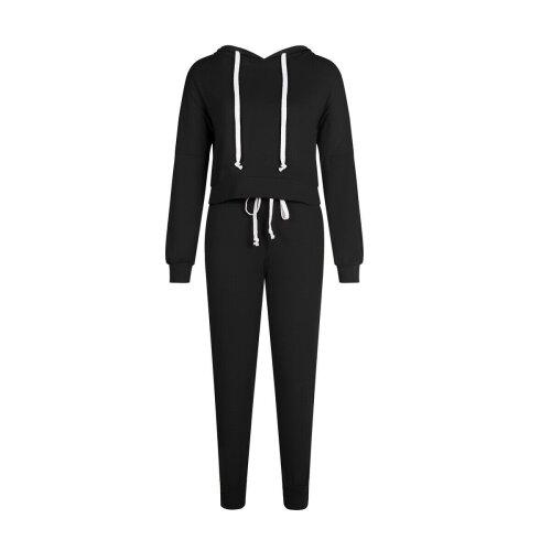 (Black, 10) Women Long Sleeve Tracksuits Lady Casual Lounge Wear Hoodies Sweatshirts