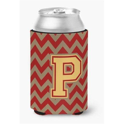 Letter P Chevron Garnet & Gold Can or Bottle Hugger