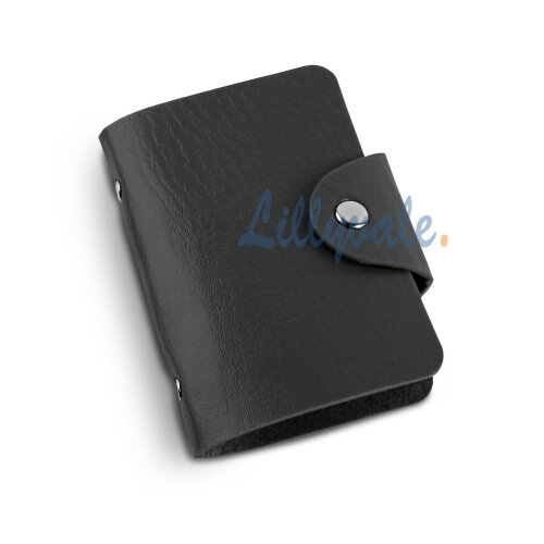 PU Leather Credit ID Business Card Holder- Black