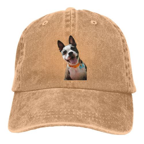 (Brown) Hi Boston Terrier Denim Baseball Caps