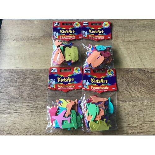 Pritt KidsArt Foamtastic 3D Party Food & 3D Travel Foam Pieces 4 Packs