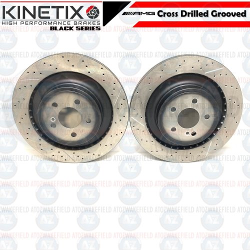 FOR MERCEDES C63 AMG 08-14 REAR SLOTTED & GROOVED BRAKE DISCS 330mm A2044230412