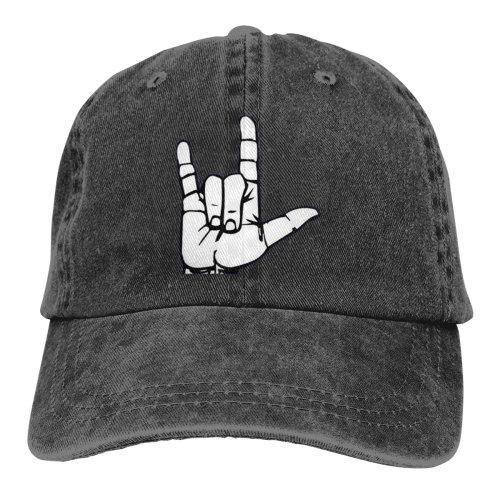 ASL American Sign Language I Love You Denim Baseball Caps