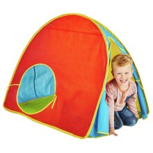 New Chad Valley Red Pop Up Play Tent Colourful Design Front Door