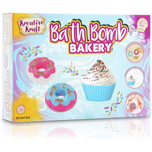 KreativeKraft Bath Bombs For Kids, Creative Bath Bomb Making Kit with Supplies and Mould, Craft Sets For Girls, Make Your Own Cupcake Bath Bomb Gift S