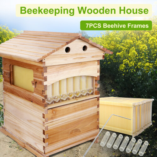 Auto Flow Beehive Boxes Bee House Wooden Bee Hive w/ 7 Pcs Automatic Frames
